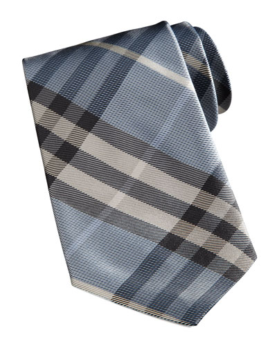 Basic Check Tie, Light Blue