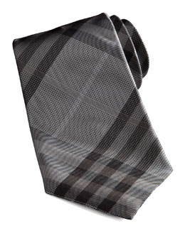 Burberry Basic Check Tie, Gray