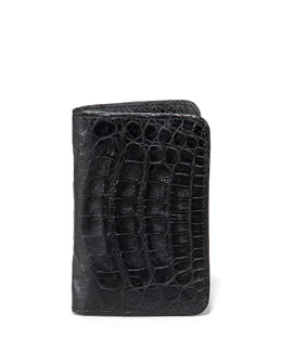 Santiago Gonzalez Crocodile Card Case, Black