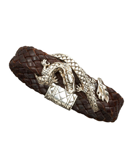Woven Leather Dragon Bracelet, Brown