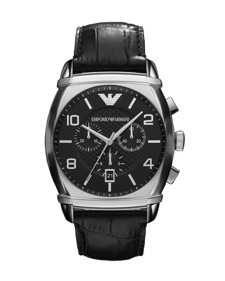 Embossed Strap Chronograph Watch, Black