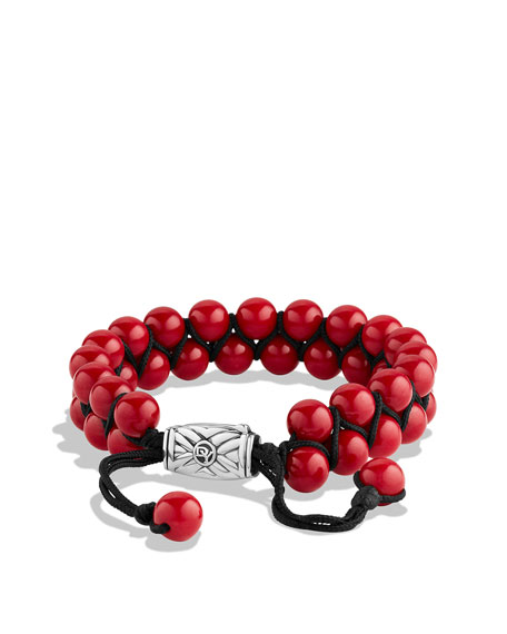 Spiritual Beads Two-Row Bracelet with Coral