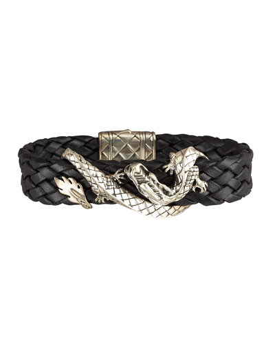 Woven Leather Dragon Bracelet, Black
