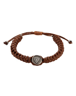 Gucci Leather Crest Bracelet, Brown