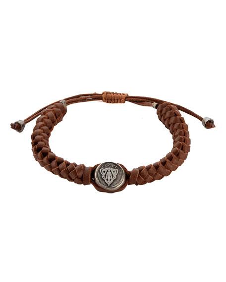 Leather Crest Bracelet, Brown
