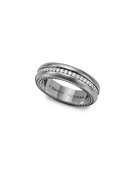 Streamline Narrow Band Ring with Diamonds