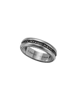 David Yurman Streamline Narrow Band Ring with Black Diamonds