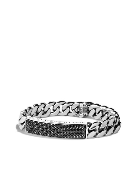 Curb Chain ID Bracelet with Black Diamonds