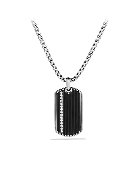 Royal Cord Tag with Black Onyx and Diamonds on Chain