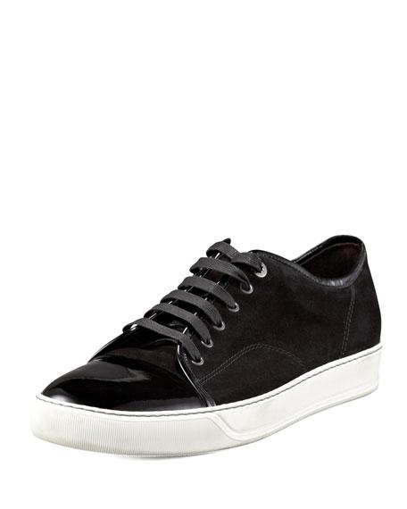Patent-Toe Suede Sneaker, Black