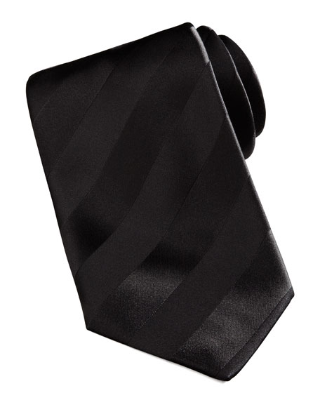 New Avanti Striped Tie, Black