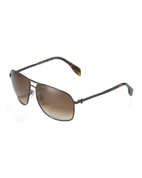 Textured Aviator Sunglasses, Dark Brown