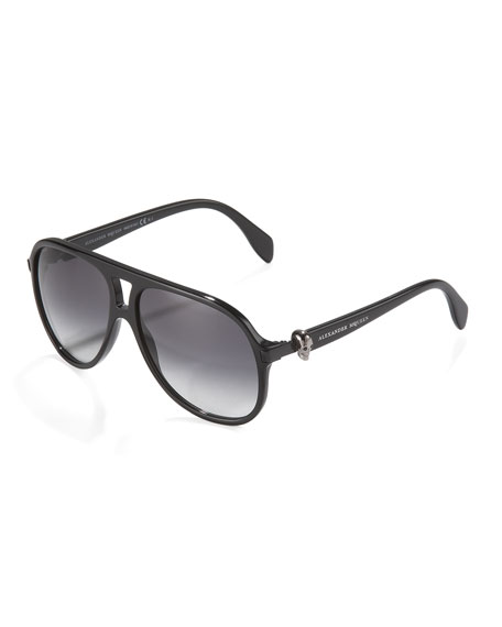 Alexander McQueen Plastic Skull Aviator Sunglasses, Black