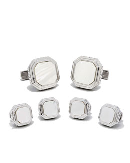 Ravi Ratan Mother-of-Pearl Cuff Links & Stud Set