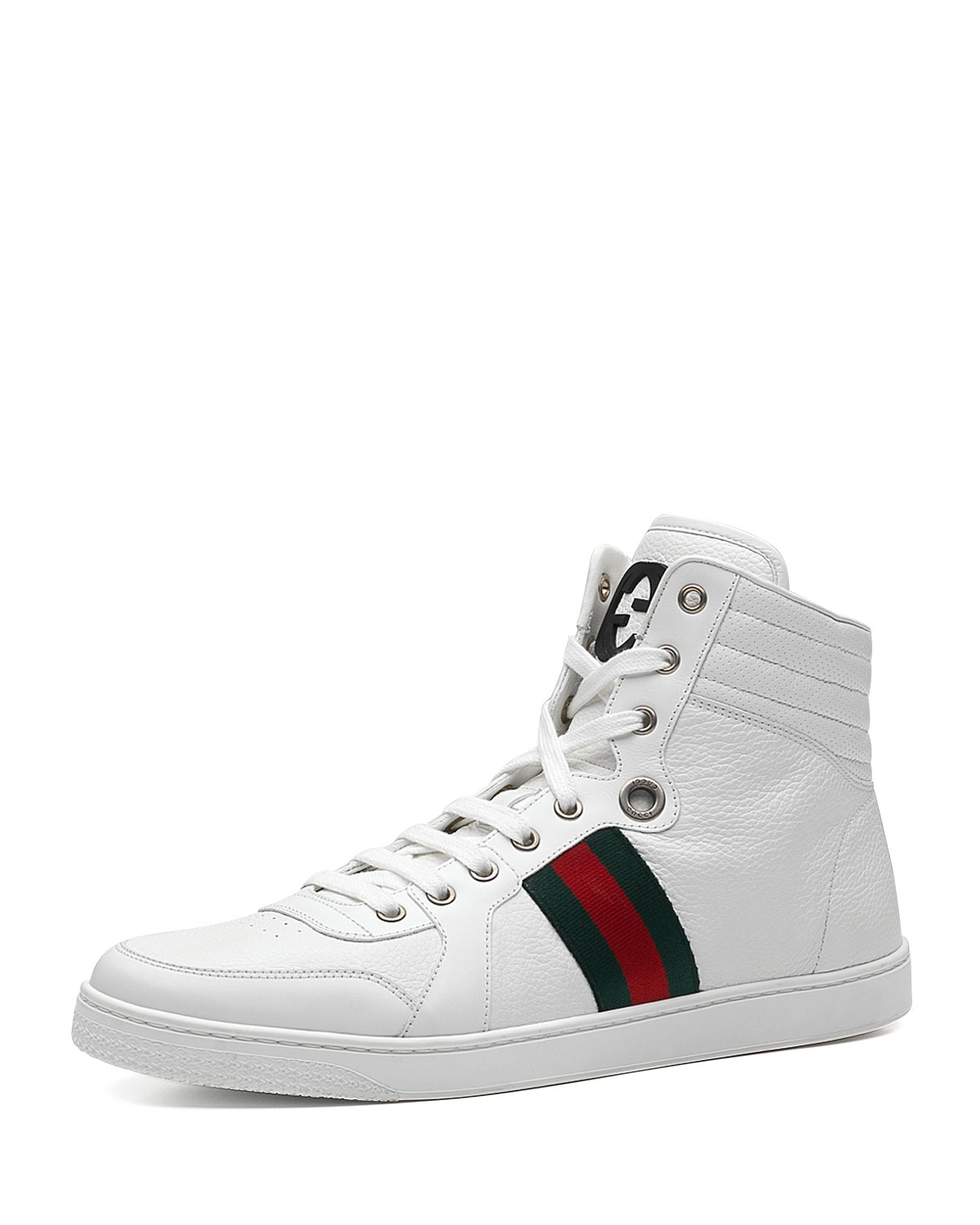 cb99e2a60ab Gucci Leather High-Top Sneaker, White | Neiman Marcus