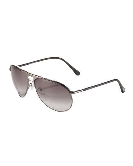 Leather-Arm Aviator Sunglasses
