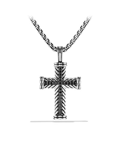 David Yurman Chevron Cross Necklace, Black Diamond, 22""