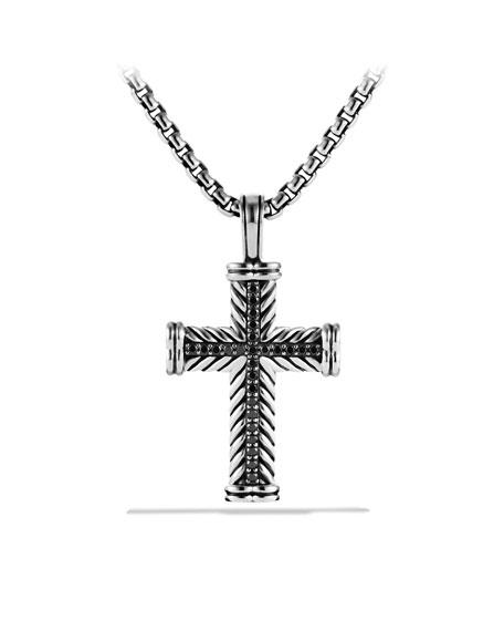 "Chevron Cross Necklace, Black Diamond, 22"""