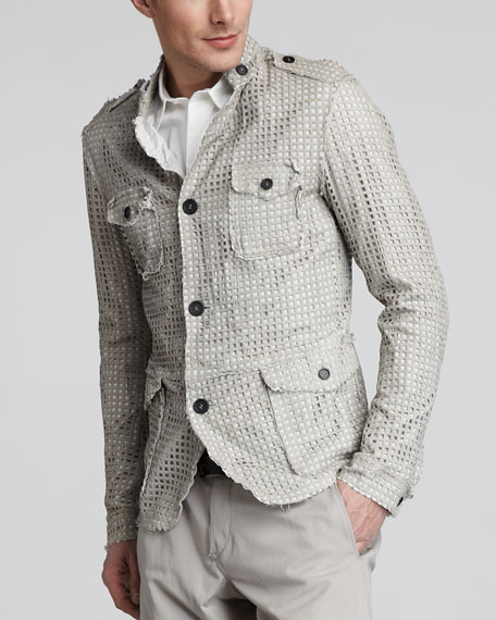Perforated Leather Safari Jacket
