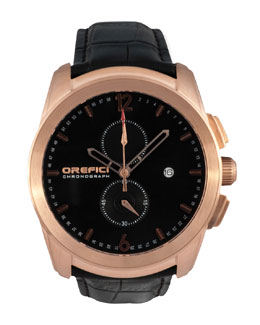 Orefici Watches Classico Chronograph Watch, Black/Rose Gold