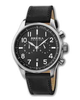Brera Classico Chronograph Watch, Black