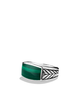 David Yurman Chevron Narrow Ring with Malachite