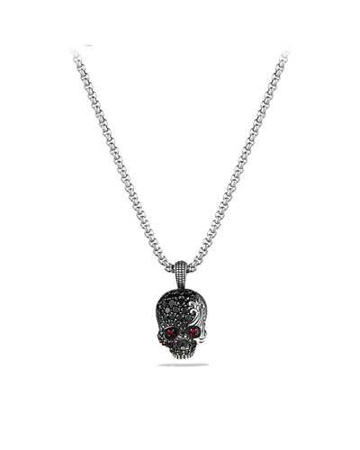 David Yurman Waves Skull Amulet with Rubies, Black Diamonds, and Black Titanium on Chain