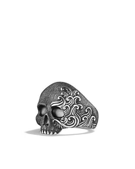Waves Large Skull Ring