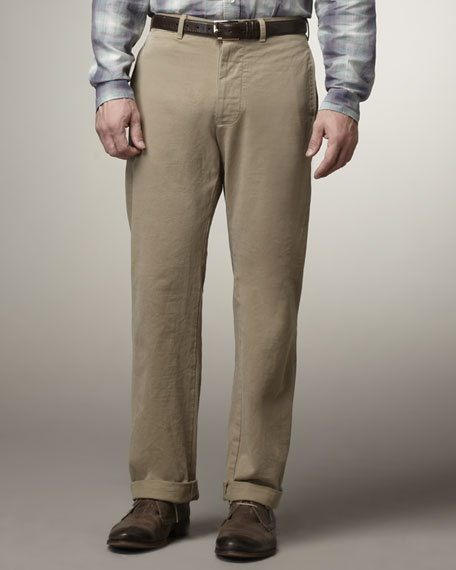 Officer Selvedge Chino Pants, Khaki