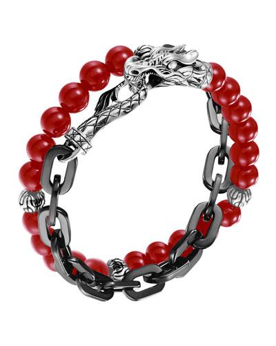 John Hardy Naga Coral & Chain Wrap Bracelet