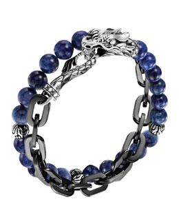 John Hardy Naga Lapis & Chain Wrap Bracelet