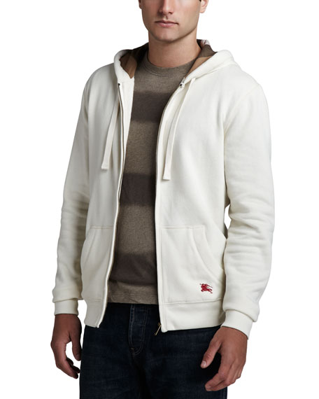 Check-Lined Zip Hoodie, Natural White