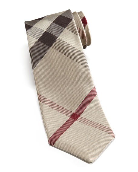 Skinny Check Tie, Camel Trench
