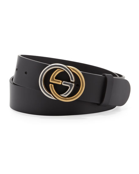 Belt with Two-Tone Interlocking G Buckle, Black