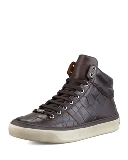 Jimmy Choo Belgravia Croc-Stamped Hi-Top