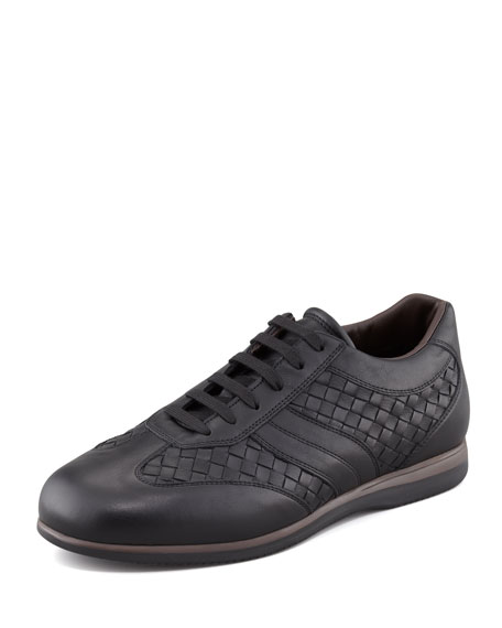 WOVEN LEATHER SNEAKER, BLK