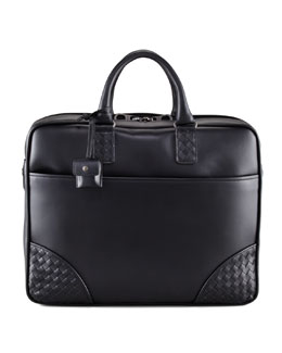 Bottega Veneta Woven Corner Briefcase, Black