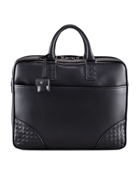 Woven Corner Briefcase, Black