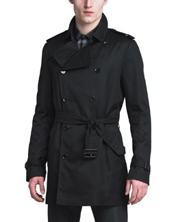 Burberry London Poly-Cotton Trenchcoat, Black