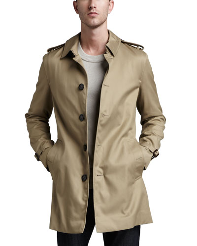 Burberry London Single-Breasted Poly-Cotton Trenchcoat, Fallow