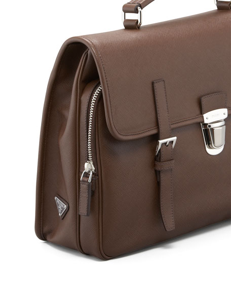 Saffiano Flap Briefcase, Brown