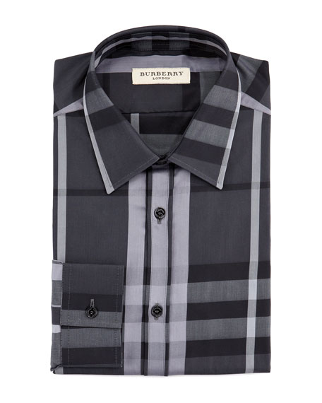 Modern-Fit Beat Check Dress Shirt, Black
