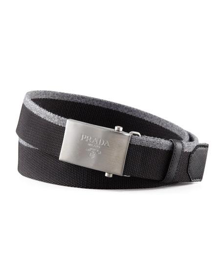 Nylon & Wool Logo Belt