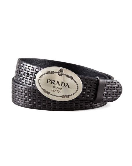 Woven Leather Oval-Logo Buckle Belt