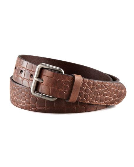 Crocodile-Embossed Belt, Brown