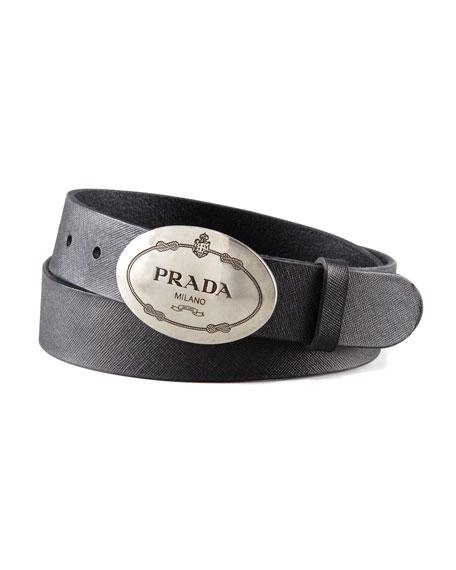 Prada Printed-Buckle Saffiano Leather Belt, Black