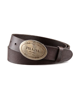 Prada Saffiano Leather Belt, Brown
