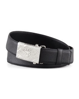 Prada Printed Buckle Saffiano Leather Belt, Black