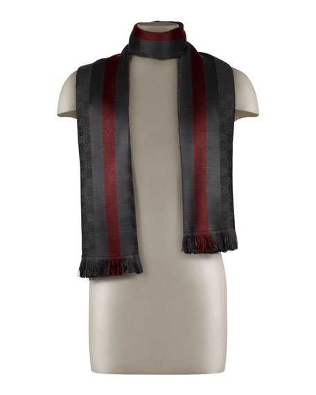 GG Jacquard Knit Scarf with Web & Fringe