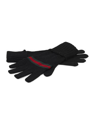 Gucci Men's Knit Gloves with Web Detail